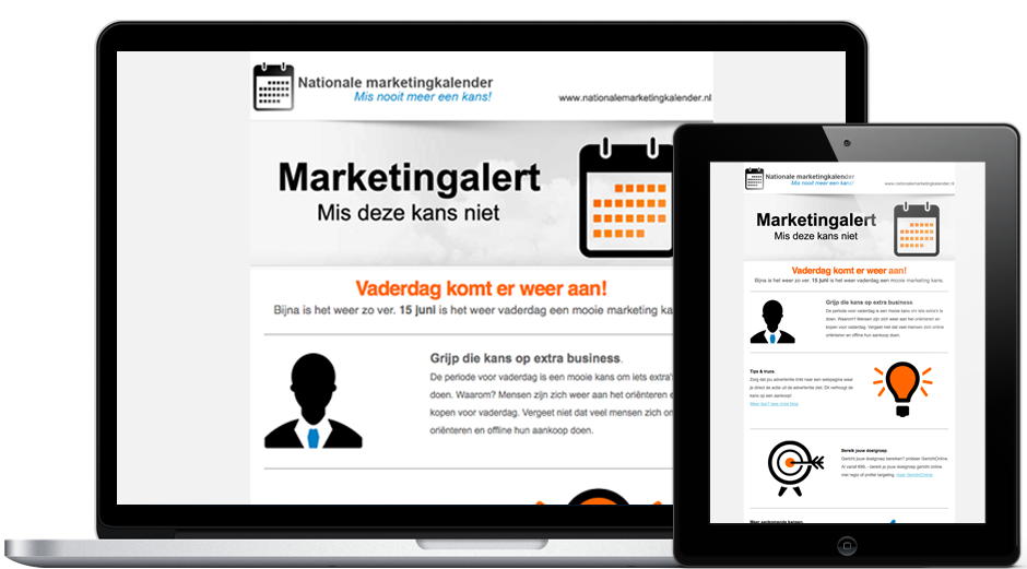 Marketingalert van nationale marketingkalender